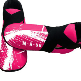 Martial Arts U.K SHINE – Sparring Feet Pads – Pink and White Splash